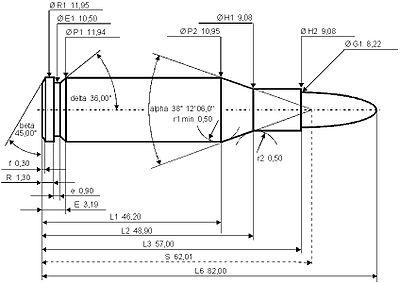 Dimensiuni cartuş 7.92x57 IS
